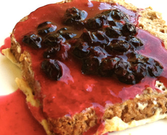 Tea Infused French Toast with Blueberry Sauce